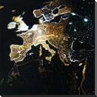EUROPEAN CONTINENT art print poster with block mounting