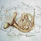 HORN ON MUSIC SHEET art print poster transferred to canvas