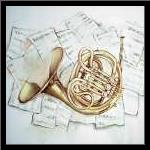 HORN ON MUSIC SHEET art print poster with simple frame