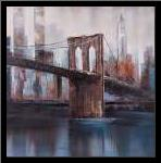 BROWN AND BLUE BROOKLYN BRIDGE art print poster with simple frame