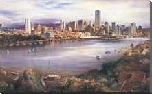Brisbane from Kangaroo Point art print poster with block mounting
