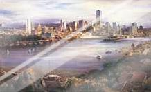 Brisbane from Kangaroo Point art print poster with laminate