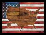 American Flag USA Map  art print poster with simple frame