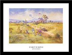 Kite Flyers II art print poster with simple frame