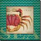 Crab art print poster with block mounting