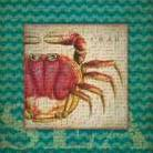 Crab art print poster transferred to canvas