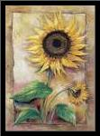 Beautiful sunflower art print poster with simple frame