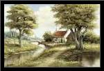 Dutch country scene art print poster with simple frame