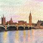 SUNSET ON THE BIG BEN art print poster transferred to canvas