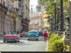 Vintage cars on Havana street, Cuba art print poster with block mounting