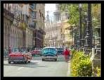 Vintage cars on Havana street, Cuba art print poster with simple frame