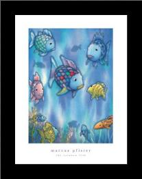 Rainbow Fish To The Rescue art print poster with simple frame