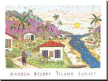 Island Sunset art print poster with block mounting