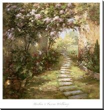 Tuscan Walkway art print poster with block mounting