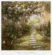 Tuscan Walkway art print poster transferred to canvas