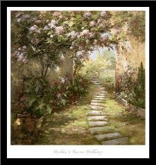 Tuscan Walkway art print poster with simple frame