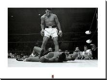 Muhammad Ali V. Sonny Liston art print poster with block mounting