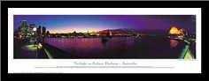 Twilight on Sydney Harbour art print poster with simple frame