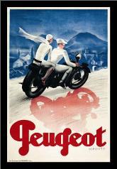 Peugeot art print poster with simple frame