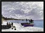 Beach At Sainte Adresse 1867 art print poster with simple frame