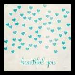 Beautiful You in Blue art print poster with simple frame