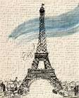 Eiffel Tower in Pen art print poster transferred to canvas