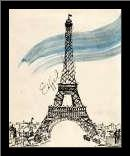 Eiffel Tower in Pen art print poster with simple frame