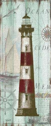 Antique La Mer Lighthouse Panel II art print poster transferred to canvas