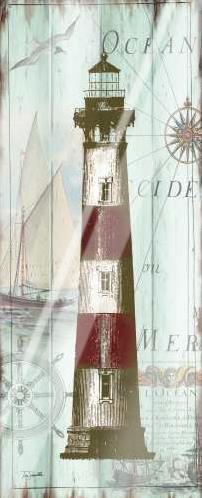 Antique La Mer Lighthouse Panel II art print poster with laminate