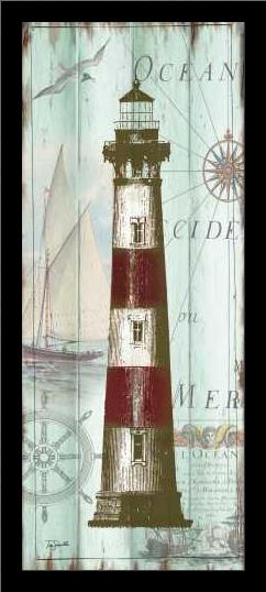 Antique La Mer Lighthouse Panel II art print poster with simple frame