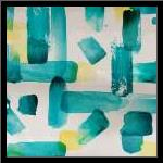 Aqua Abstract Square I art print poster with simple frame