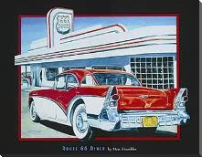 Route 66 Diner art print poster with block mounting