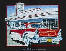 Route 66 Diner art print poster transferred to canvas