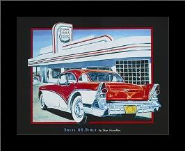 Route 66 Diner art print poster with simple frame