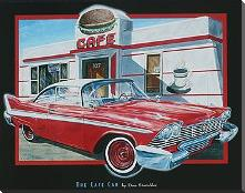 Cafe Car art print poster with block mounting