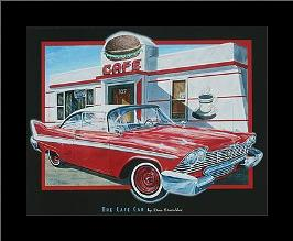 Cafe Car art print poster with simple frame