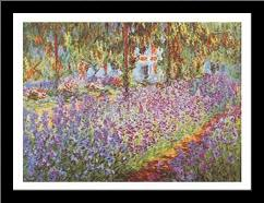 Garden at Giverny art print poster with simple frame