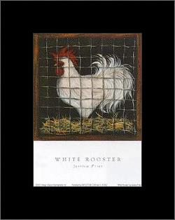 White Rooster art print poster with simple frame