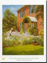 Betty in Garden art print poster with block mounting