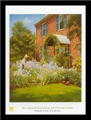 Betty in Garden art print poster with simple frame