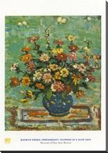 Flowers in a Blue Vase art print poster with block mounting