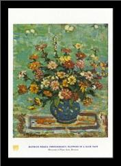 Flowers in a Blue Vase art print poster with simple frame