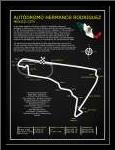Autodromo Hermanos RodriguezBL art print poster with simple frame