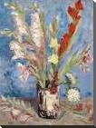 Vase with Gladioli and China Asters art print poster with block mounting