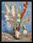 Vase with Gladioli and China Asters art print poster with simple frame