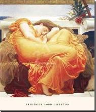 Flaming June art print poster with block mounting