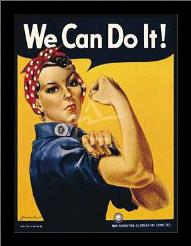We Can Do It! art print poster with simple frame
