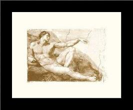 Creation Of Adam (Adam Detail) (Embossed art print poster with simple frame