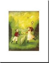 Children Playing Tennis art print poster with block mounting