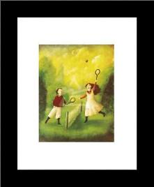 Children Playing Tennis art print poster with simple frame